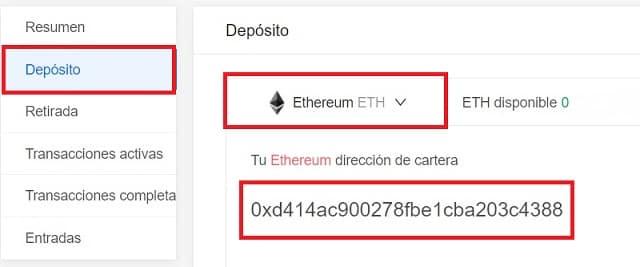 Depositar Ethereum para comprar criptomoneda DENT