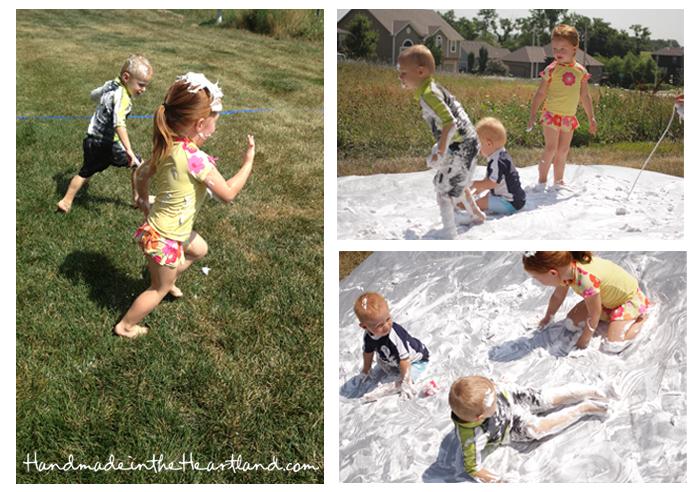 Toddler Activities: Shaving Cream Slip-n-Slide