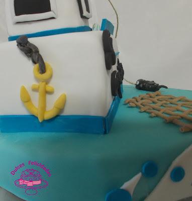Tarta barco de fondant