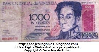 Simón Bolivar en Billete de mil bolívares (Venezuela)
