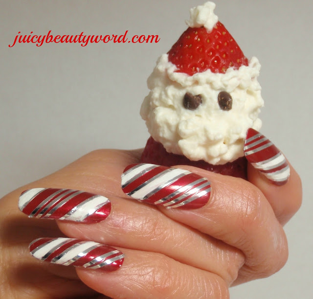 candy cane nails strawberry santa