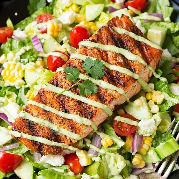 How to Grilled Salmon Fillets and Spinach Salad with Mango Peach Dressing