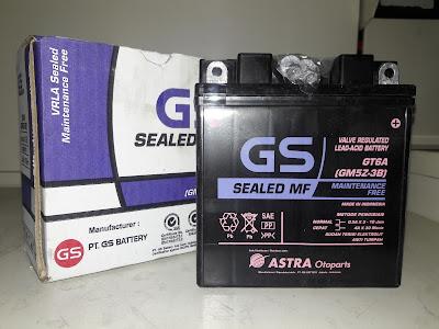 Harga aki GS Astra mantenan free untuk motor