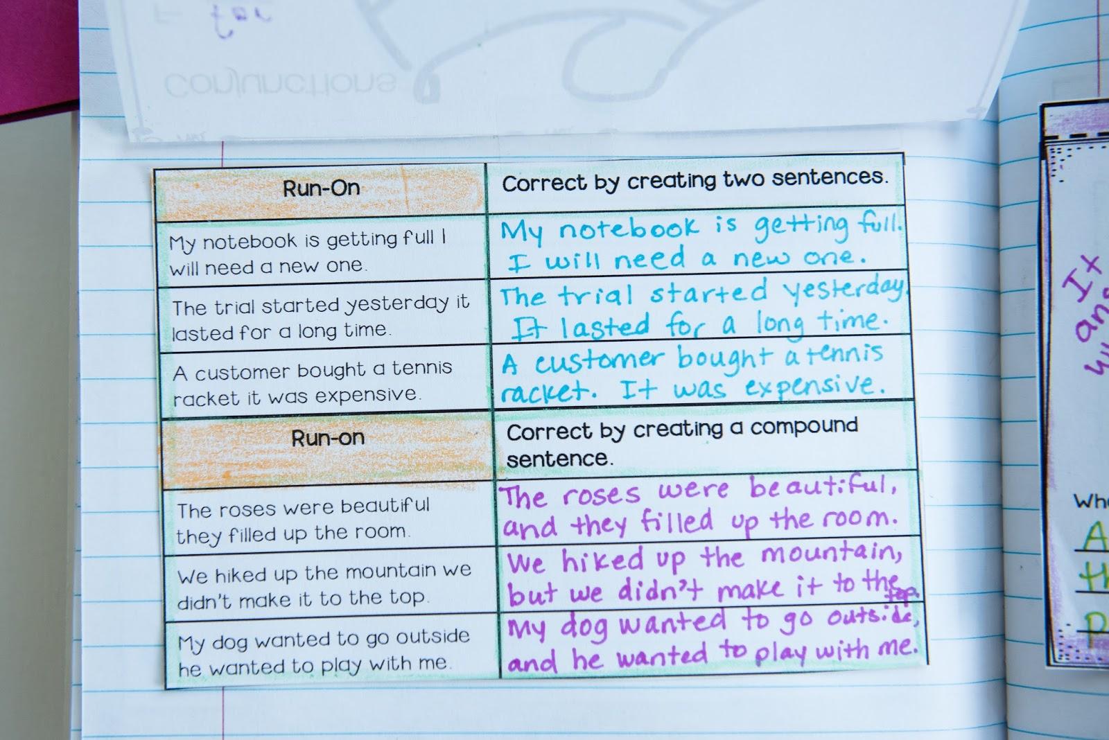Writing Mini Lesson #4- Run-On Sentences   Rockin Resources [ 1068 x 1600 Pixel ]