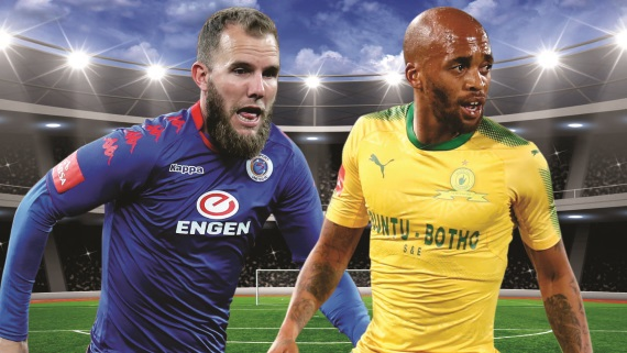 SuperSport's Jeremy Brockie (left), Sundowns' Oupa Manyisa (right)