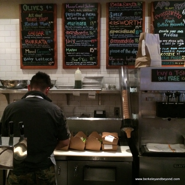 take-out prep in kitchen at Pizzeria Picco in Larkspur, California