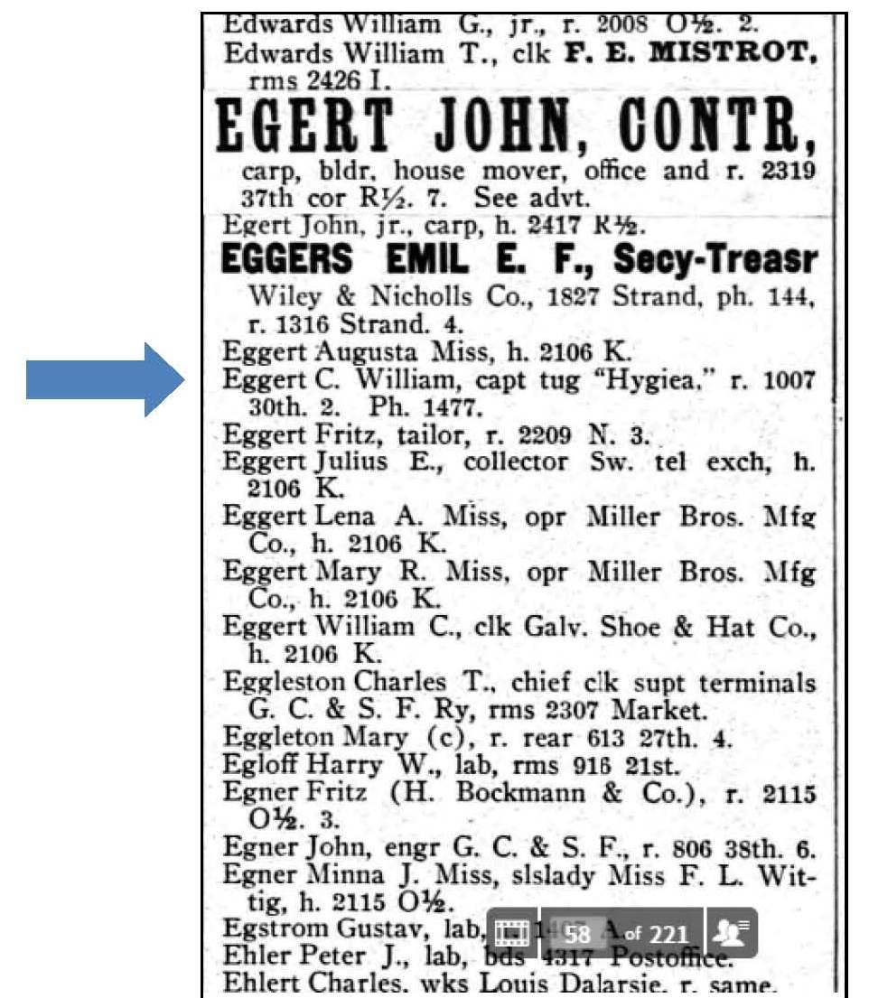 Ancestorpuzzles william c eggert pilot and ship captain 1905 galveston city directory aiddatafo Choice Image