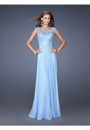 A-line Scoop Short Sleeve Chiffon Prom Dresses/Evening Dresses With Appliques