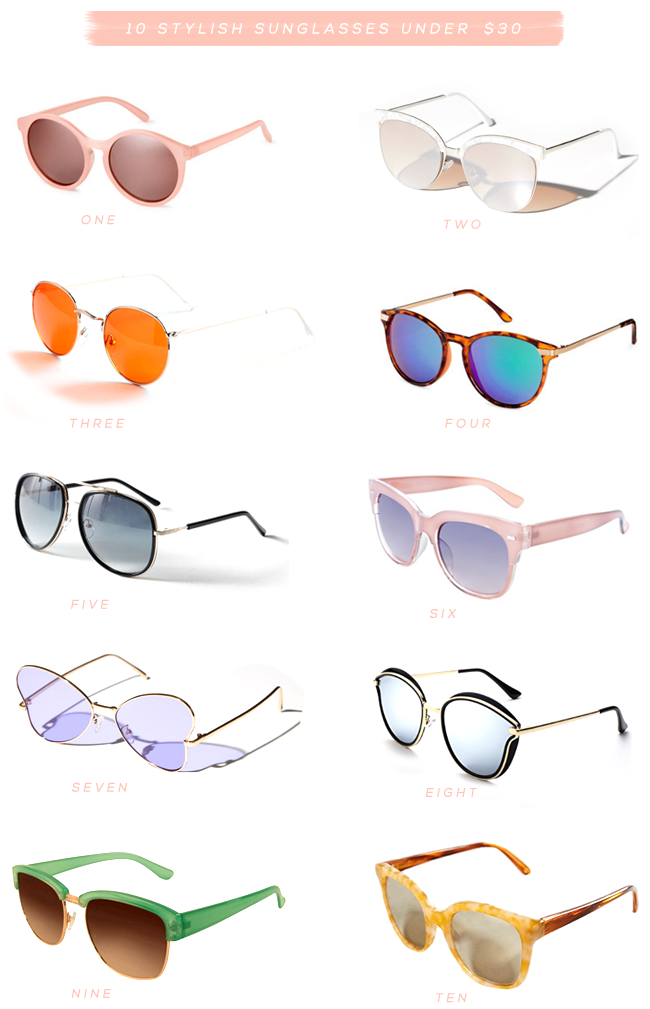 10 Stylish Sunglasses Under $30