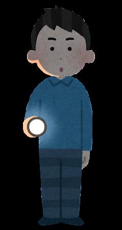 懐中電灯を持つ人のイラスト(男性・暗闇)