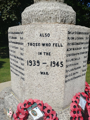 Photograph of memorial for 'those who fell' in the 1939 - 1945 war Image by the North Mymms History Project released under Creative Commons