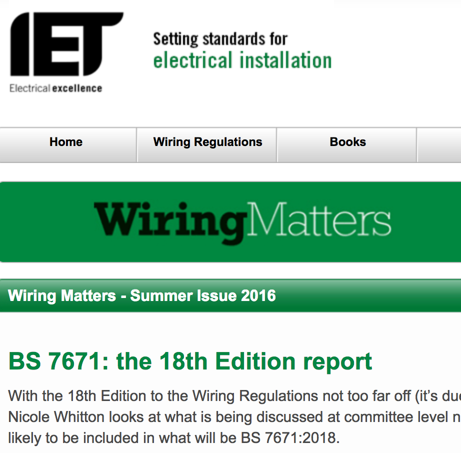 Phils Technical Blog 17th Edition Wiring Regulations Book Pdf Currently At The Committee Stage 18th Will Come Into Force End Of 2018 Request For Comments Runs Through Until August And