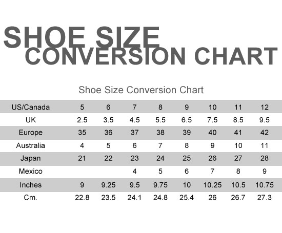 For those who are not familiar with either the US shoe size chart or the European shoe size chart, we offer a US to European shoe size conversion chart and European to US shoe size conversion chart. Shoe Lengths for U.S. & European Shoe Sizes with Sizing Chart, U.S. to European Shoe Size Conversion Chart, Shoe Fitting Guide Women's Size.