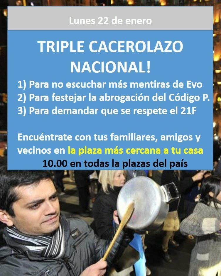 Ciudadanos se reunirán en las plazas mientras dure el mensaje oficial de Morales / RRSS