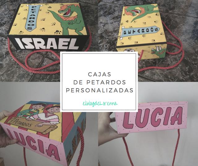 Caja de madera para petardos personalizada y pintada a mano