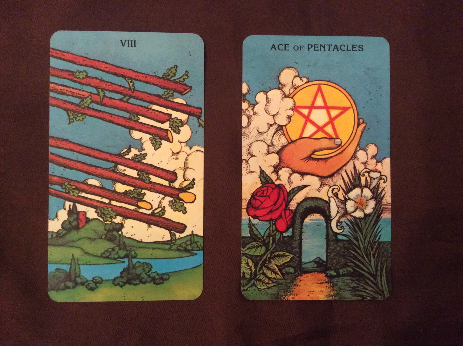 Katy's Tarot: Eight of Wands and the Ace of Pentacles
