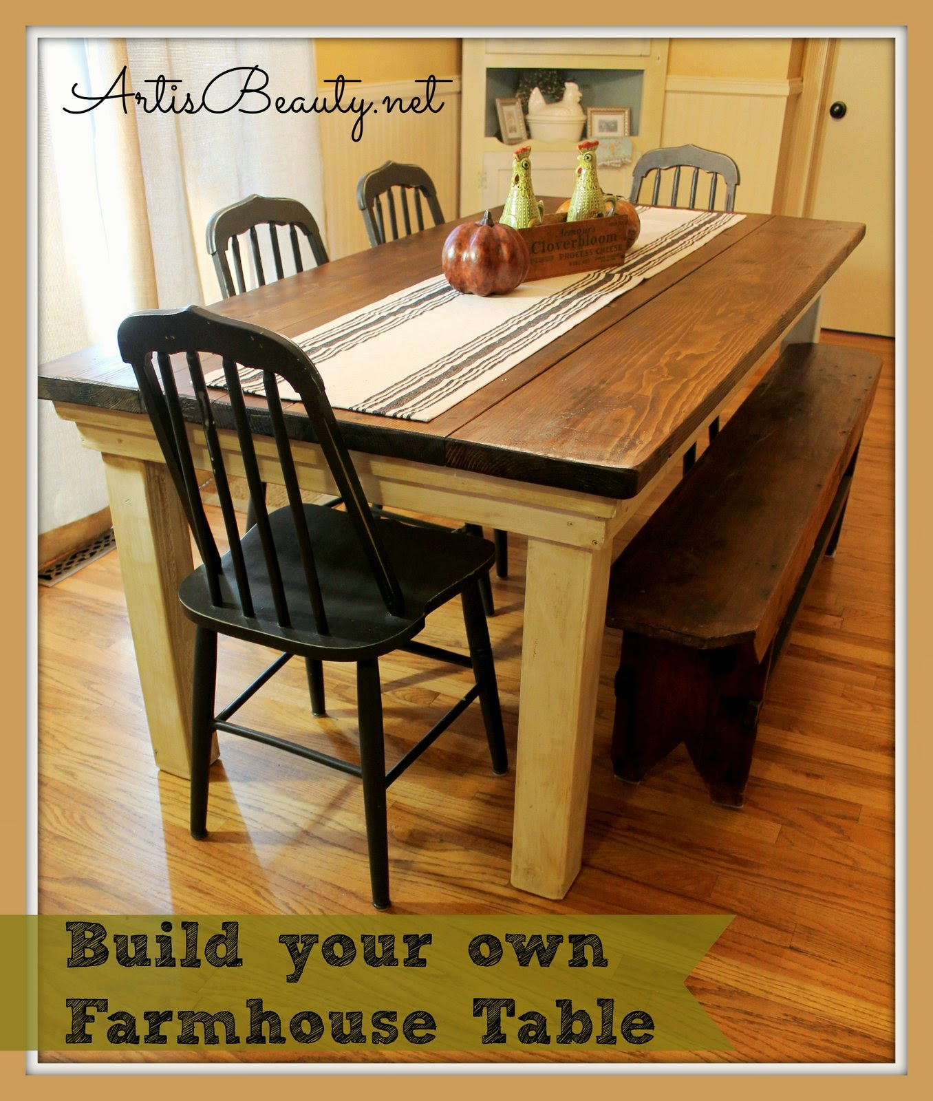 art is beauty how to build your own farmhouse table for under 100. Black Bedroom Furniture Sets. Home Design Ideas