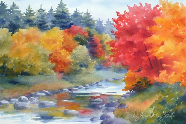 Zeh original art blog watercolor and oil paintings autumn for Watercolor scenes beginners