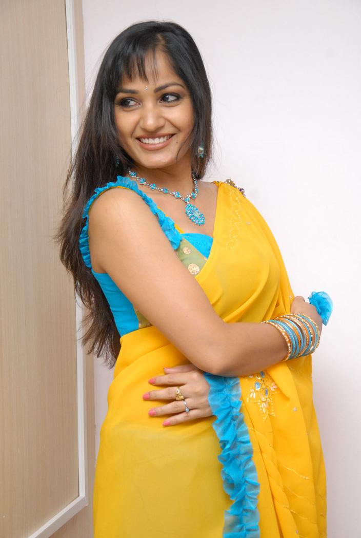 Madhavi Latha Latest Stills in Yellow Saree
