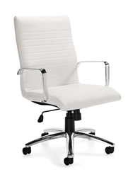 White Leather Ribbed Back Boardroom Chair
