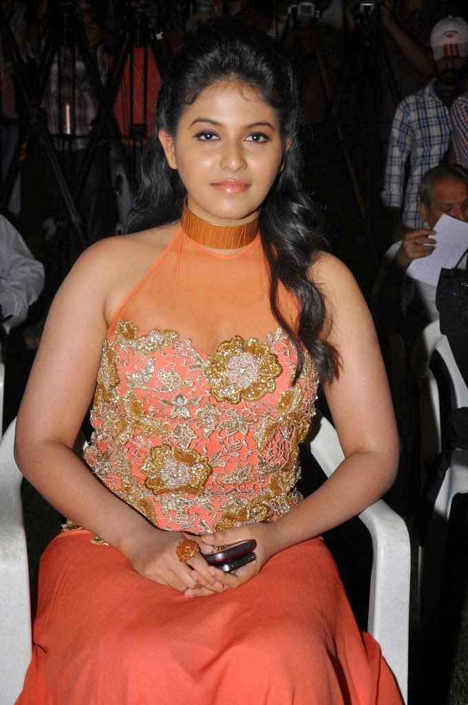 Anjali photos in long dress at masala movie platinum disc function