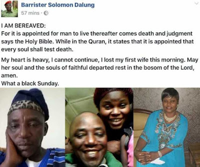 BREAKING NEWS: Minister of Sport and Youth Development, Solomon Dalung loses his wife, Naomi