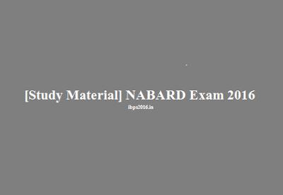 Study Material NABARD Grade Exam
