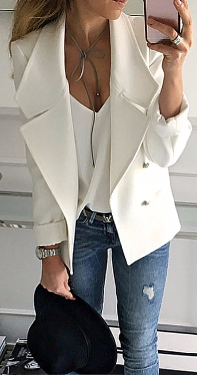 casual look - white accents + denim
