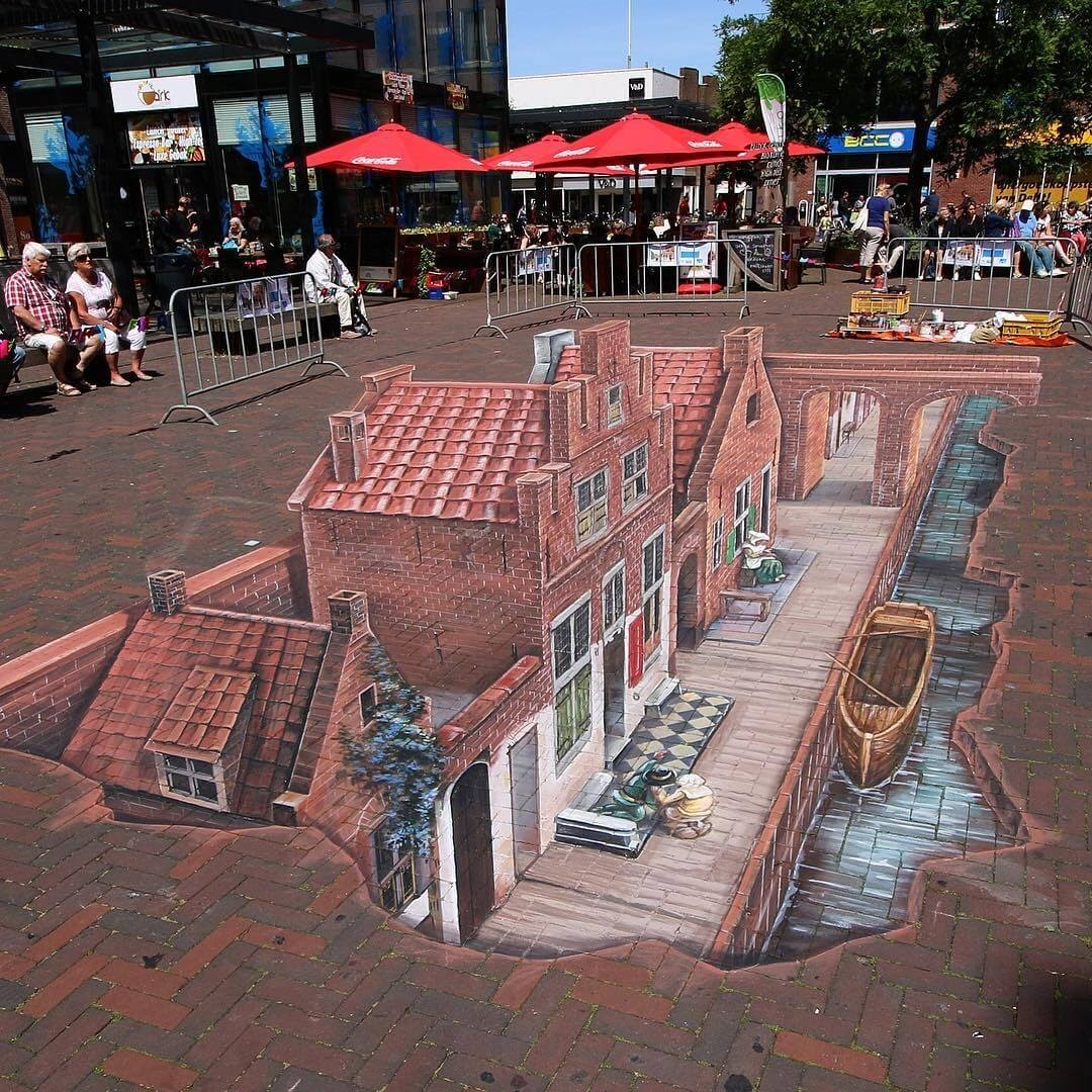 11-Painting-Delft-Holland-Leon-Keer-3D-Anamorphic-Street-Art-and-a-Video-www-designstack-co