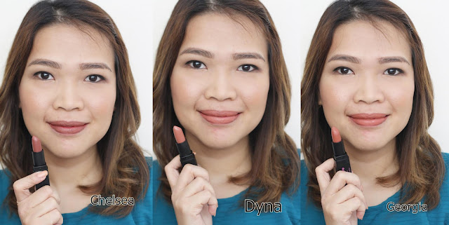 a photo of Charm by Nature Essentials Hydrating Matte Lipsticks Review in shades Chelsea, Dyna, Georgia, Britany and Amanda.