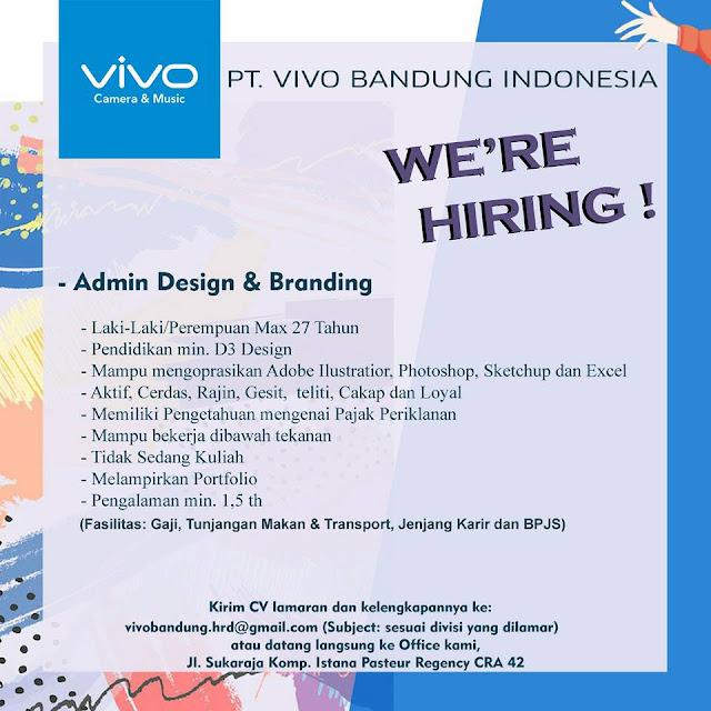Loker Admin Design dan Branding PT. VIVO Bandung