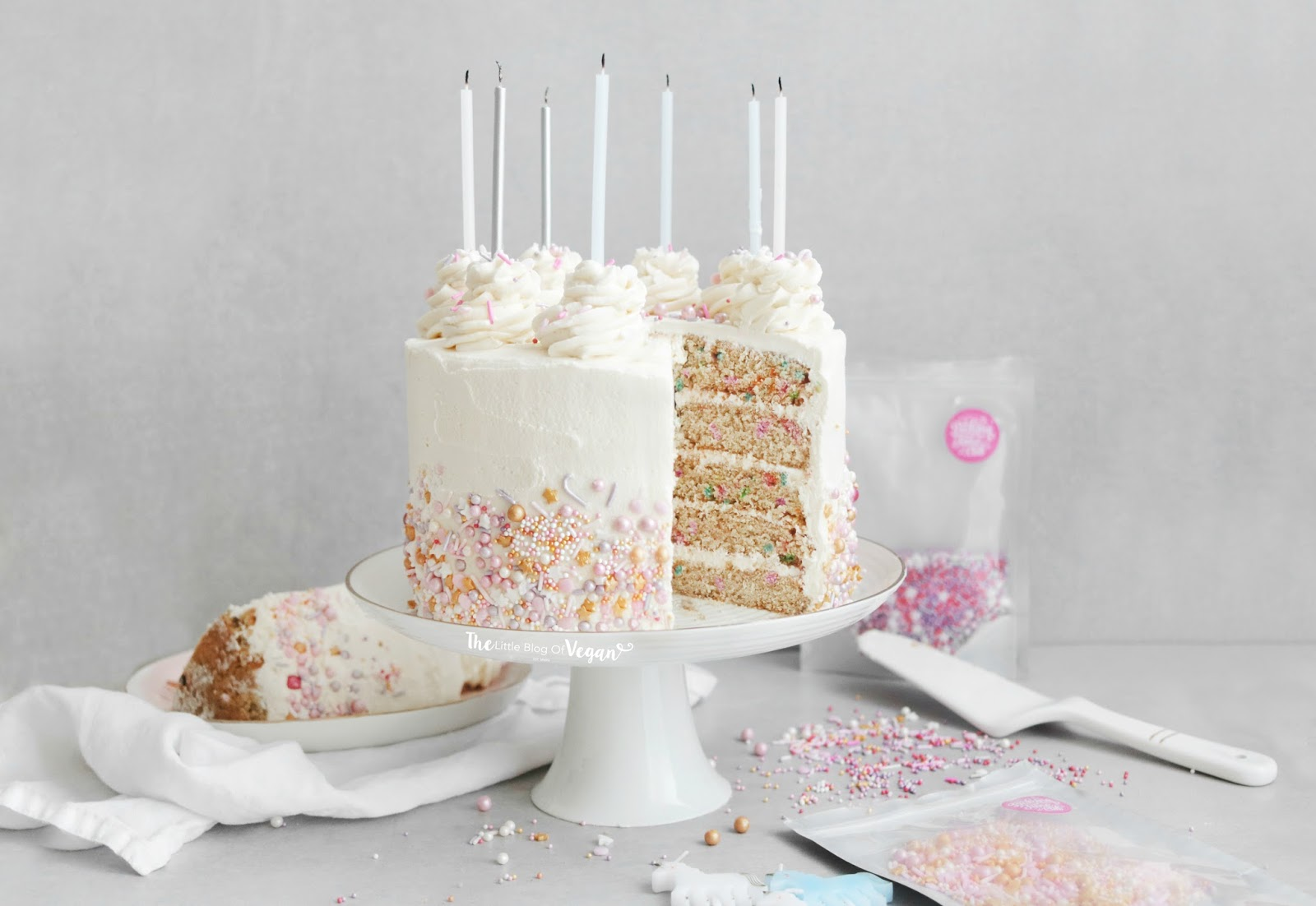 Astounding Vegan Funfetti Cake Recipe The Little Blog Of Vegan Personalised Birthday Cards Veneteletsinfo