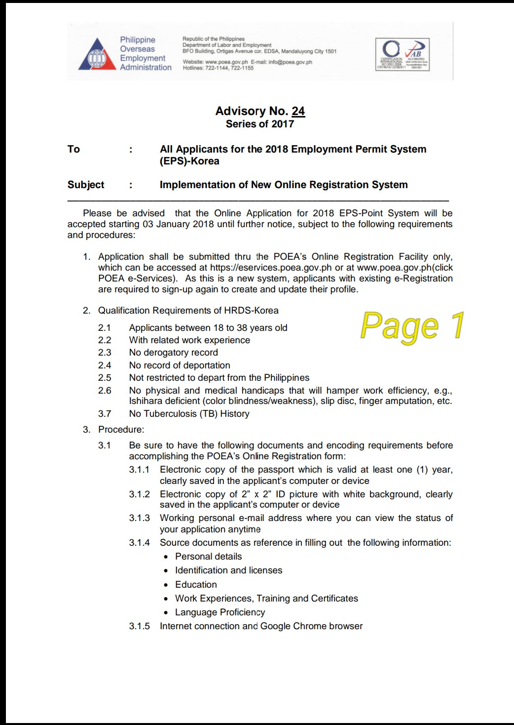 New On Line Registration System For Eps Workers In 2018 By Poea