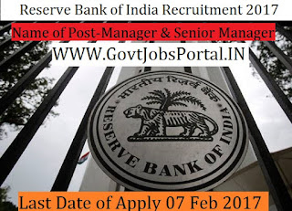 Reserve Bank of India Recruitment 2017 –Manager, Senior Manager Officer Post