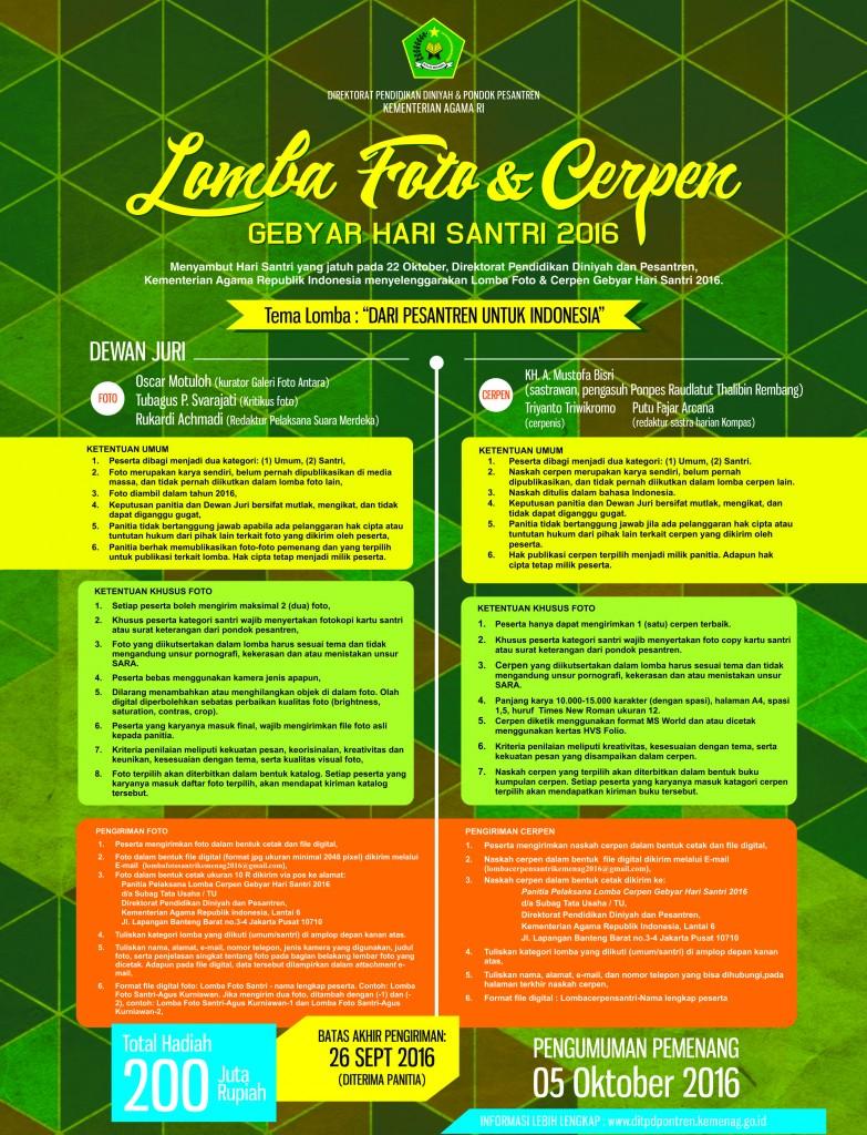 Lomba Cerpen Kementrian Agama Hari Santri Nasional Berhadiah 200 Juta Rupiah (DL September 2016)