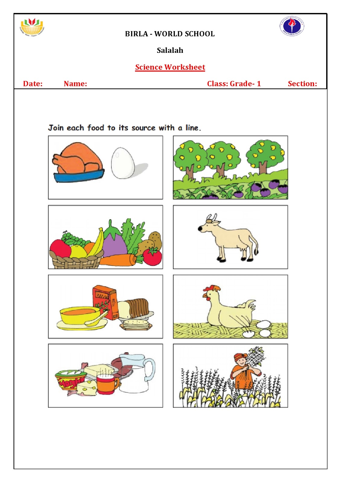 Birla World School Oman Homework For Grade 1b And D On 01