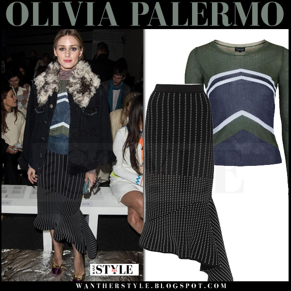 Olivia Palermo in green blue chevron knit topshop sweater and black asymmetric jonathan simkhai midi skirt front row london what she wore