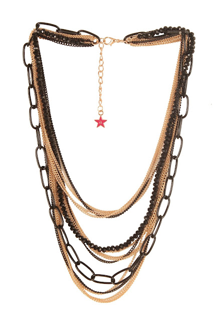 9351 Gold toned and black multistranded necklace with mutiple chains and a beaded strandRs.798