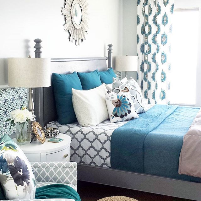 poster bed, gray, aloof gray, teal, curtain, drum shade, chandelier, lamp, white nightstand, inspire q, safavieh, club chair, euro sham, lamp, night stand, duvet, sunburst mirror, quilt, teal, blue, turquoise, aqua,