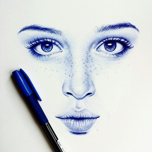04-Minimalist-Drawing-Eva-Garrido-Ballpoint-Bic-Pen-Portrait-Drawings-www-designstack-co