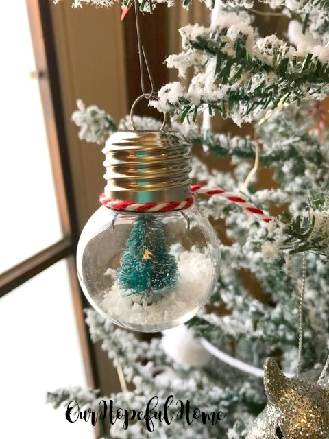 clear diy ornament snow globe bottle brush tree faux snow
