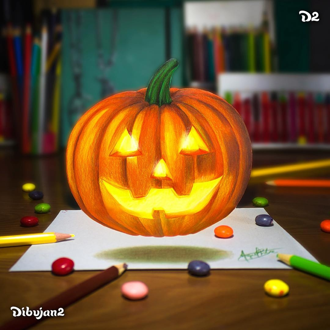08-Halloween-Pumpkin-Miguel-Brito-3D-Illusions-with-Drawings-and-Illustration-www-designstack-co