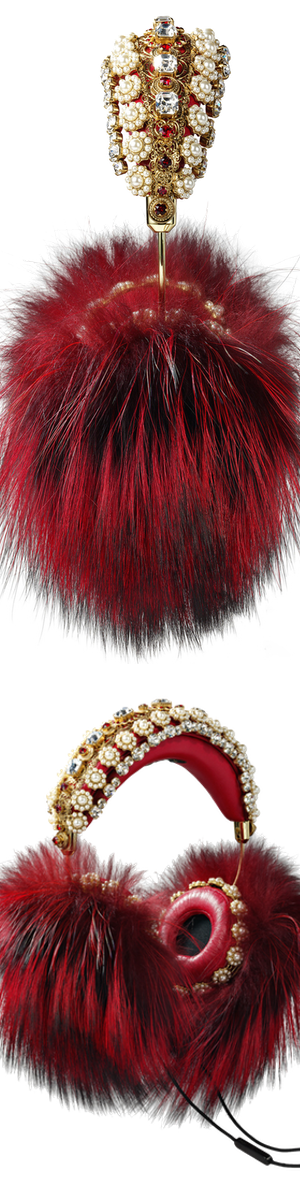 Dolce & Gabbana Embellished Leather Headphones Red Fox Fur