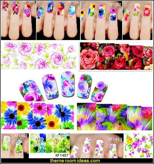 50Sheets Nail Art Flower Water Transfer Sticker Nails Wraps Foil Polish Decals