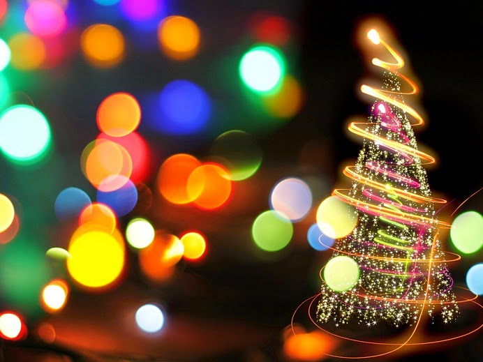 Combination of colorful tree lights and bokeh