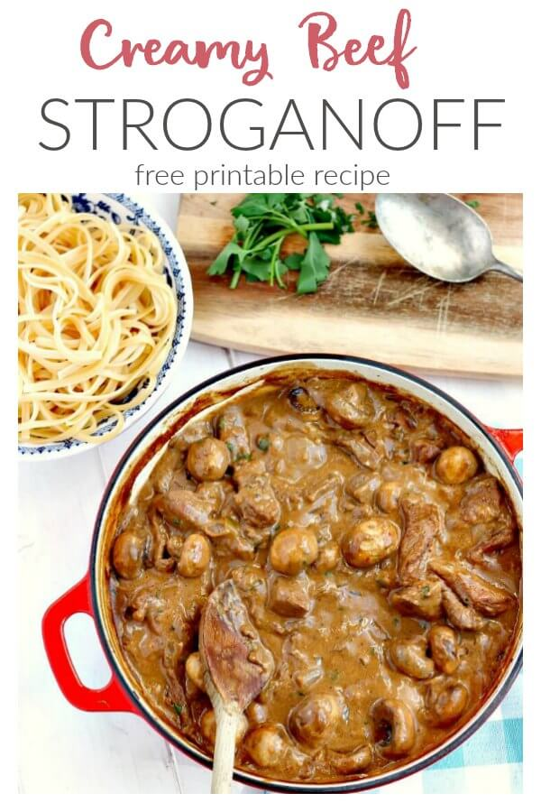 Creamy Beef Stroganoff with Linguine