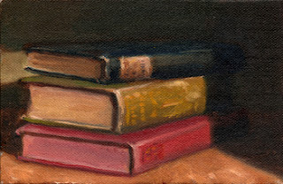 Oil painting of three antique books stacked on top of one another.