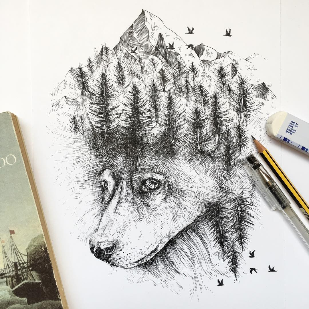 09-Wild Wolf-Alfred-Basha-The-World-of-the-Mind-Expressed-in-Drawings-www-designstack-co