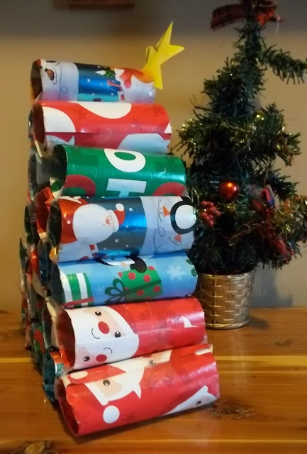 Cardboard tube Advent Calendar Tree.