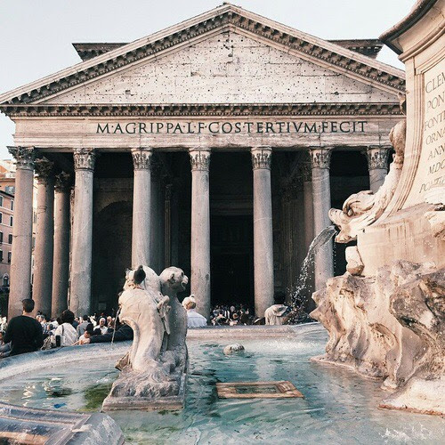 The Impressive 2000 Year-Old Pantheon and Beautiful Fountain, Rome, Italy